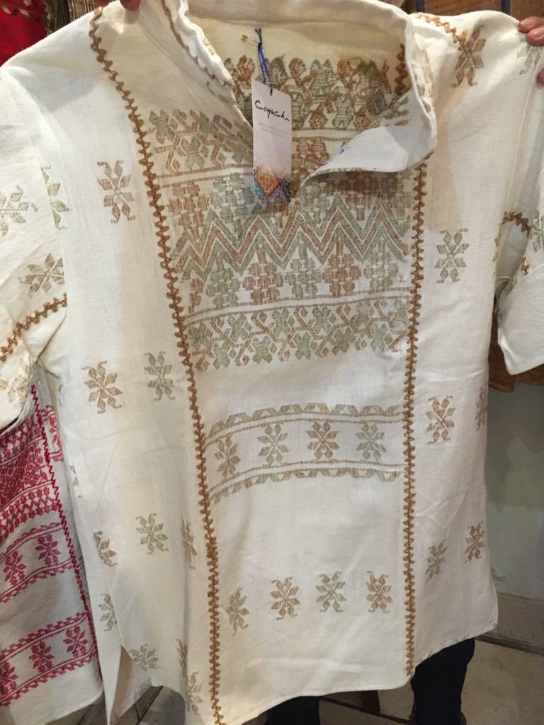 Men's Oaxacan shirt, cafe - $125