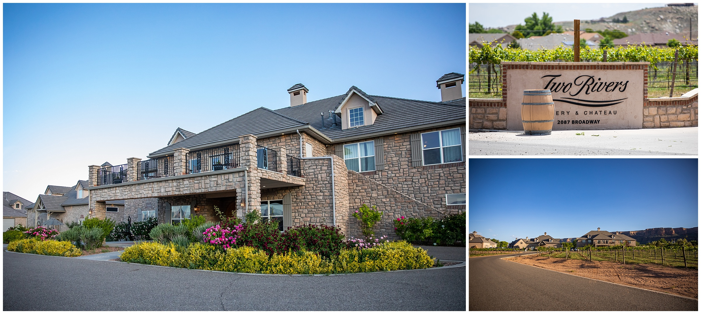 Vineyards surround  Two Rivers Winery and Chateau , giving the venue a secluded setting away from roads and other properties.