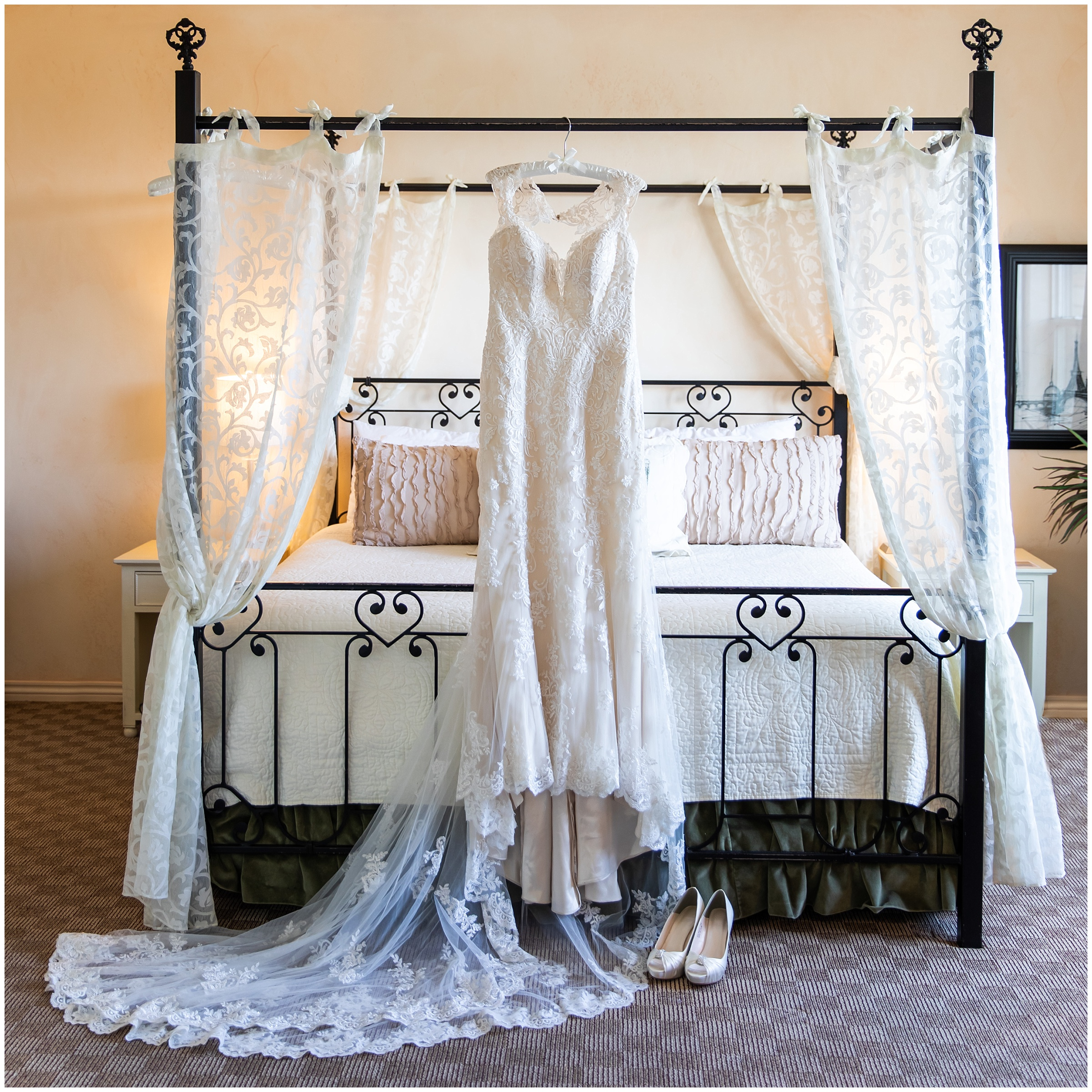 The bed in the bridal suite lends itself beautifully to display a wedding dress.