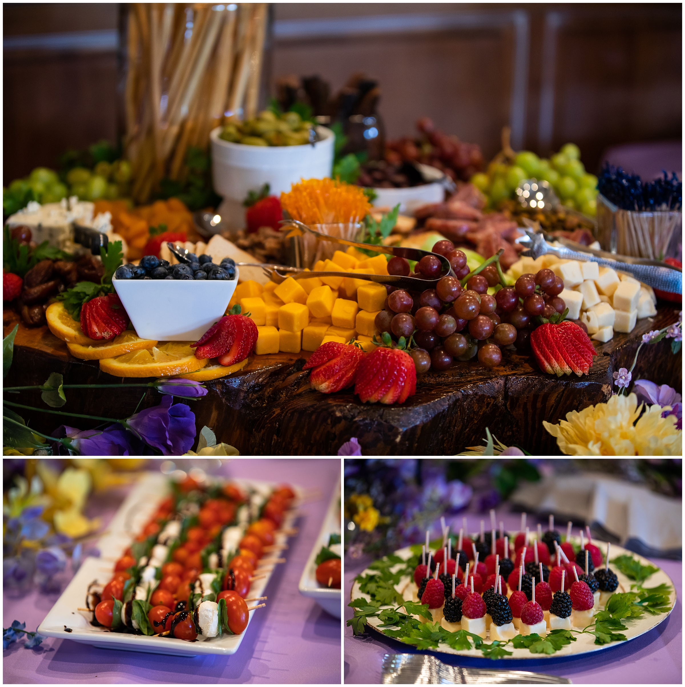 Appetizers were set up for the cocktail hour, catered by  Flavors Grille . It looked almost too pretty to eat!