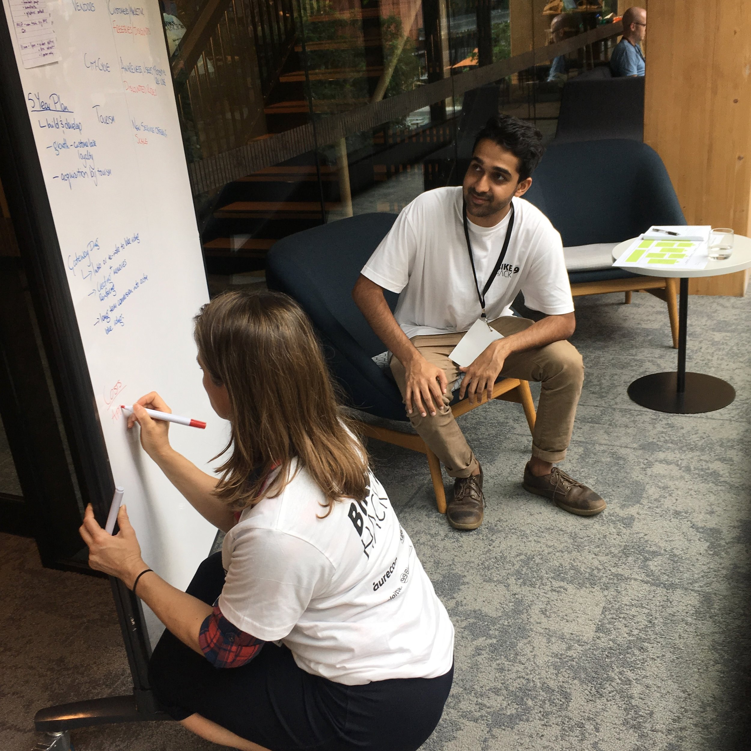 Hashing out the business model. (Photo credit: Nina Ginsberg)
