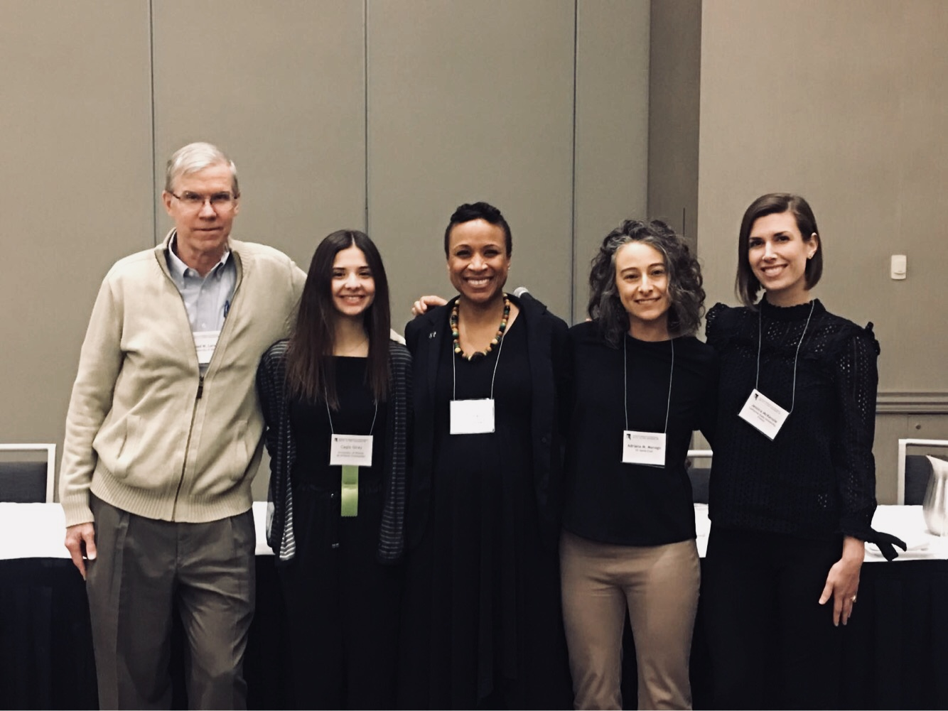 After Globalization and Media Use Among Global Youth symposium (with presentations from Dr. Ferguson, Dr. Manago, Dr. McKenzie, and Cagla Giray, and discussion led by Dr. Larson).  L-R: Dr. Reed Larson (UIUC), Cagla Giray (UIUC), Dr. Gail Ferguson (UIUC), Dr. Adriana Manago (UCSC), & Dr. Jessica McKenzie