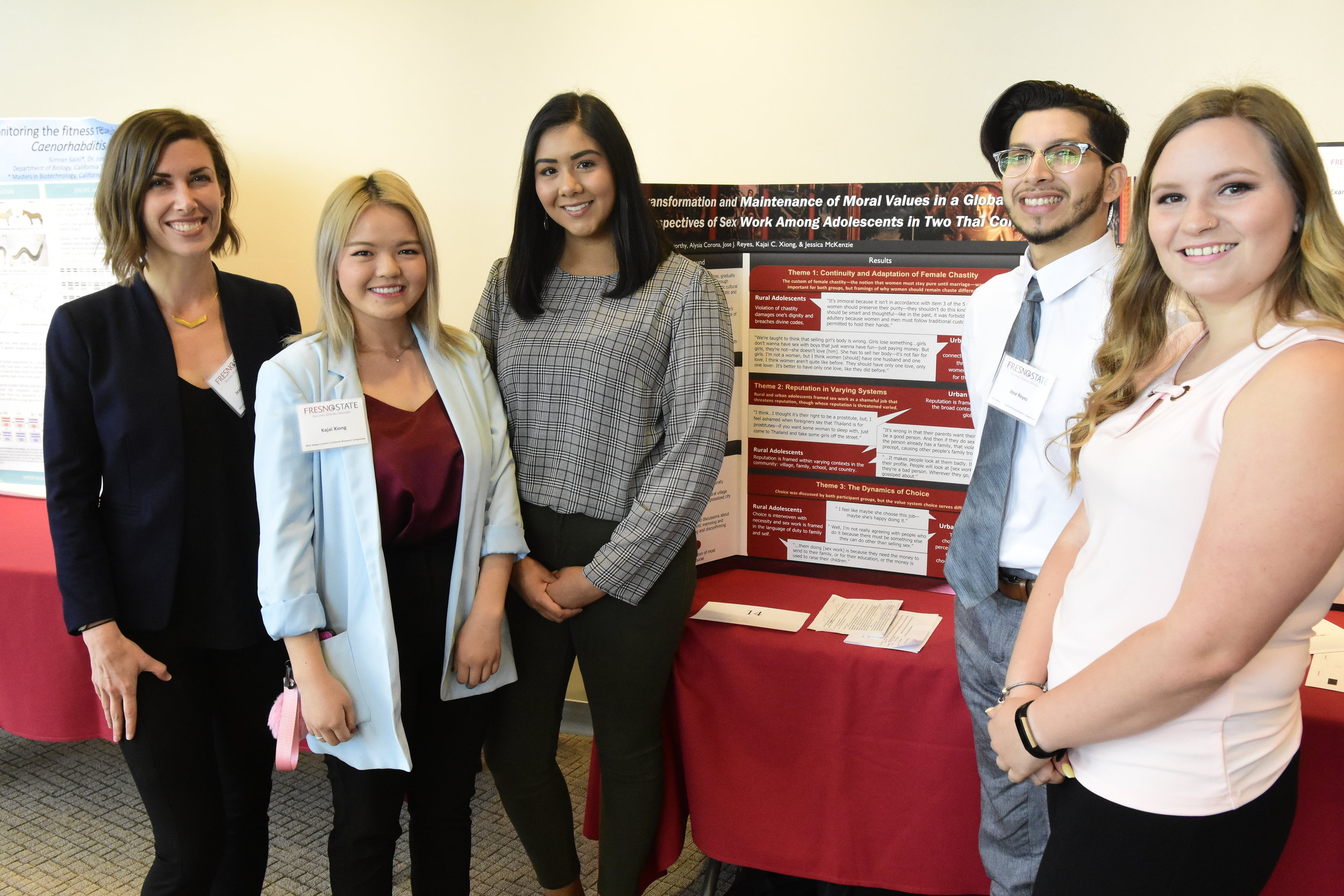 HD&C Lab members present their poster, Transformation and Maintenance of Moral Values in a Globalized World: Perspectives of Sex Work Among Adolescents in Two Thai Communities.  L-R: Dr. McKenzie, Kajai, Alysia, Jose, and Chelsee