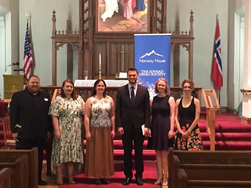 Winners of the 2018 Edvard Grieg Society of Minnesota's Voice Competition: From left, Thore Dosdall, Elsa Swanson, Anika Kildegaard, Harrison Hintzsche, Greta Ramsey, and Froya Olson.