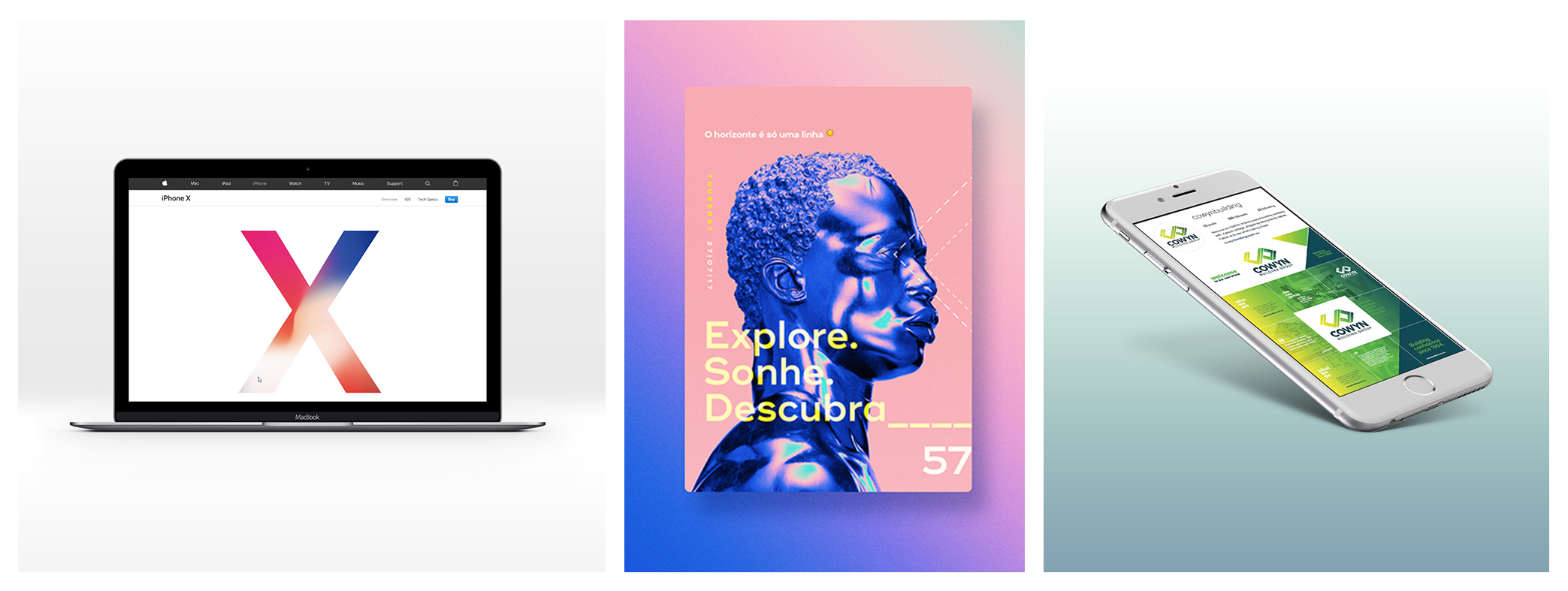 Image credit:  iPhone X landing page  /  Bruno Pego poster  /  Cowyn Building Group branding