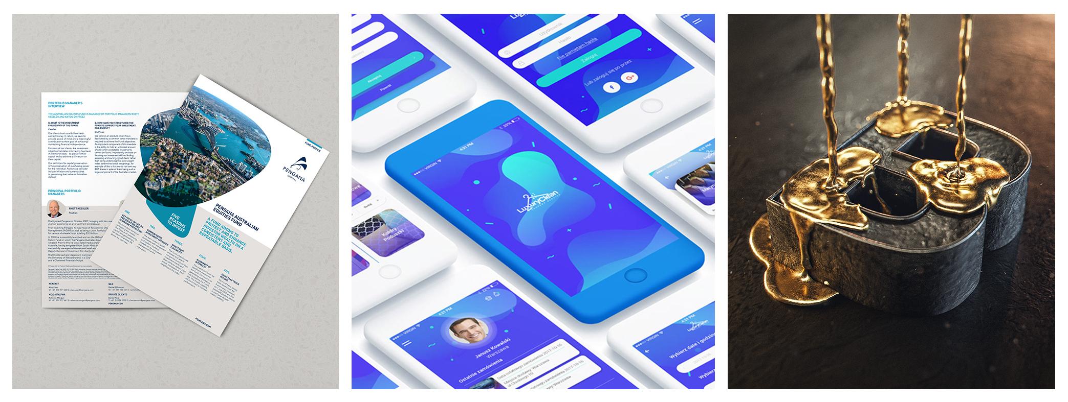 Image credit:  Pengana Capital fund profile  /  LuxuryClean app design  /  Liquid Gold render