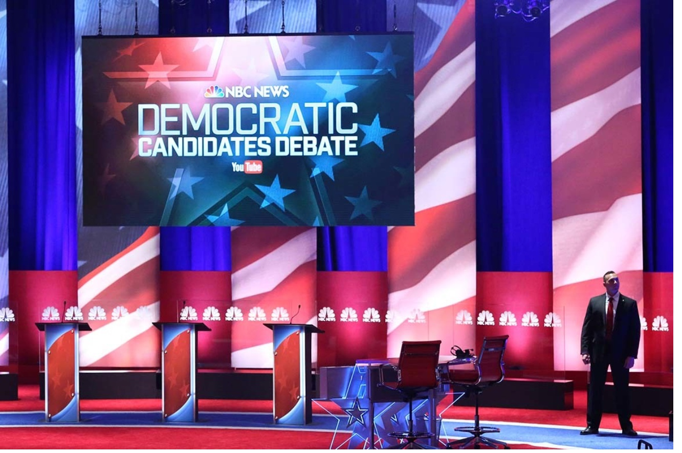 An empty stage is shown before a January 2016 Democratic presidential primary debate in South Carolina. That night there was plenty of room on the stage for the major candidates, but what will it look like in 2020? Andrew Burton/Getty Images