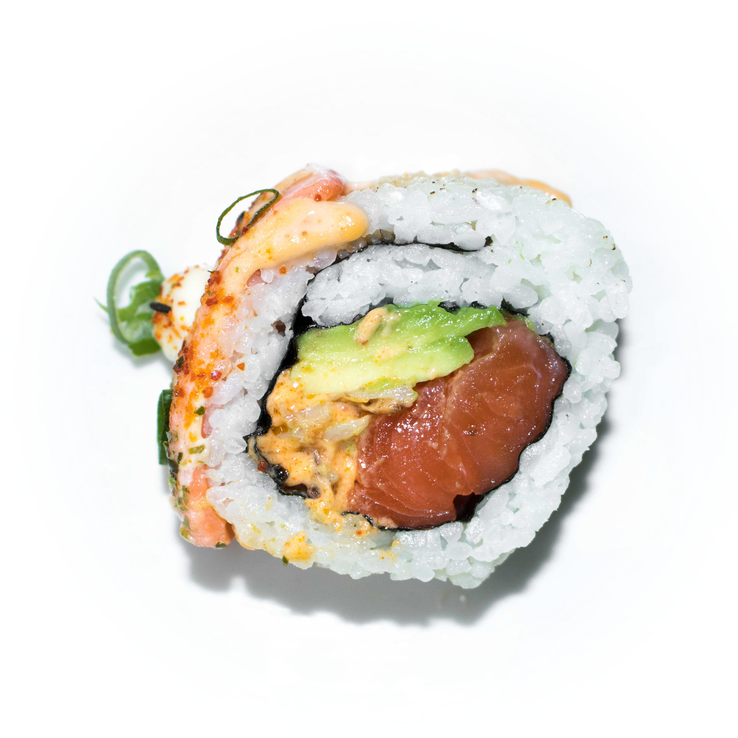 salmon avocado spicy crayfish with sheared salmon topping