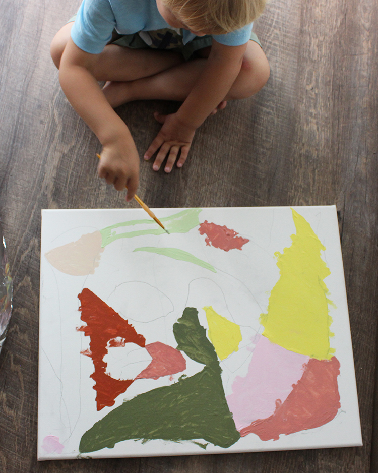 Color Block art project with kids