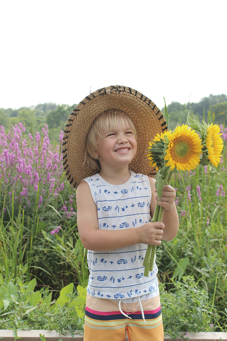 Toddler with flowers FTW!