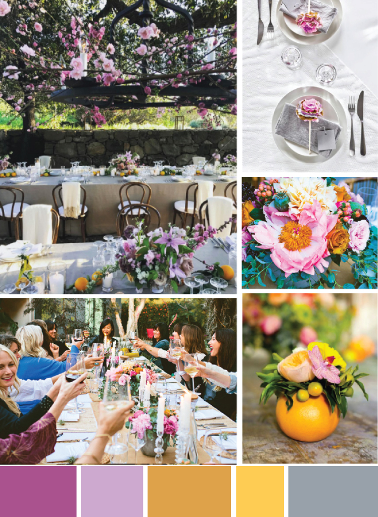 photos:  reception with floating flowers  /  paper flower place cards  /  floral arrangement  /  orange arrangement  /  dinner party