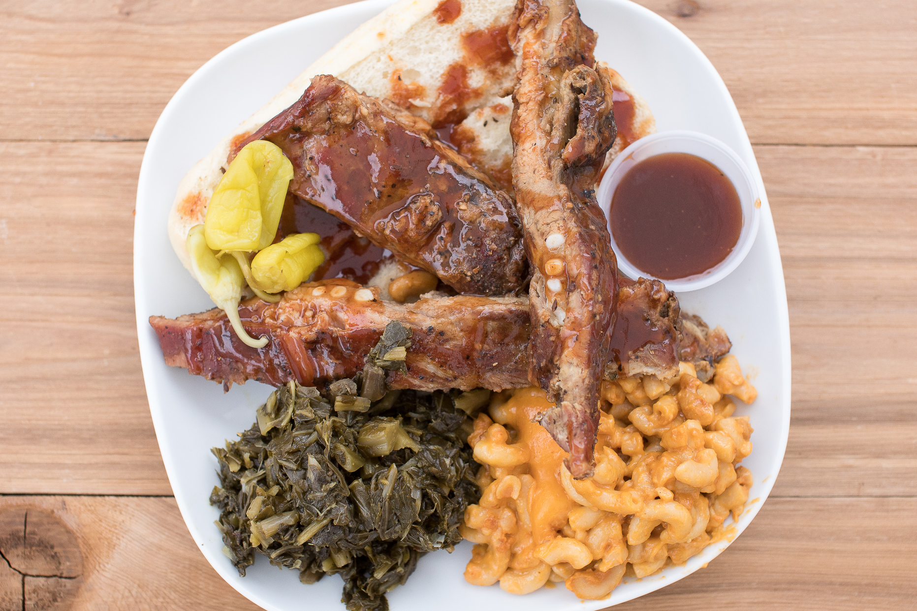 Plate with Ribs, Mac and Cheese, and Greens