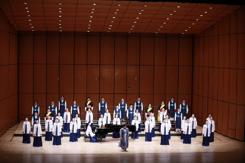 The Gunsan Civic Chorale performed the second half of their set in tradition garb