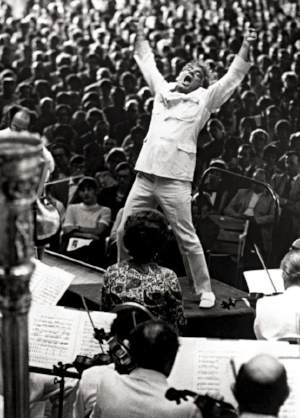 """Bernstein conducting the Boston Symphony in a performance of Mahler's """"Resurrection"""" Symphony at Tanglewood, in 1970."""
