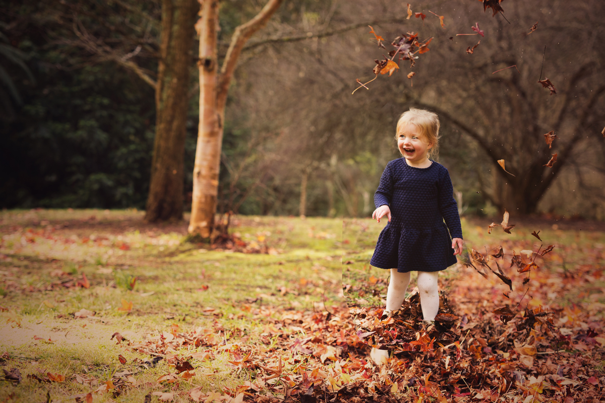 Playing in the leaves family photography Dandenong ranges