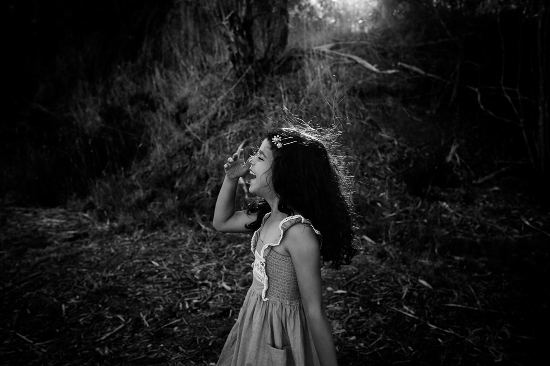 family photography melbourne - my daughter - black and white - laughing