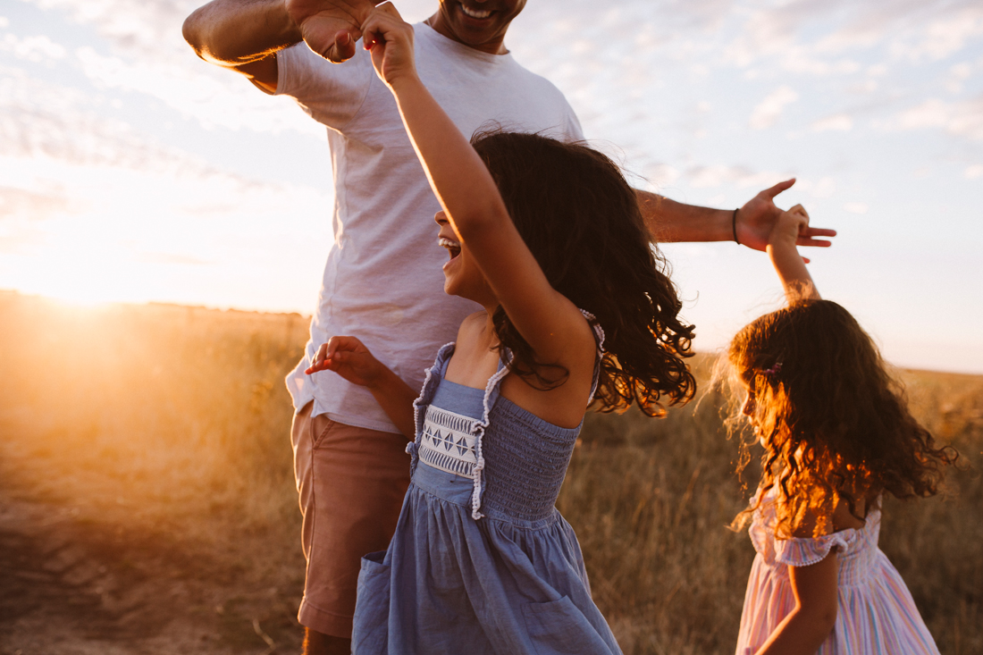 Dad and his girls - dancing - sunset - south gippsland family photography