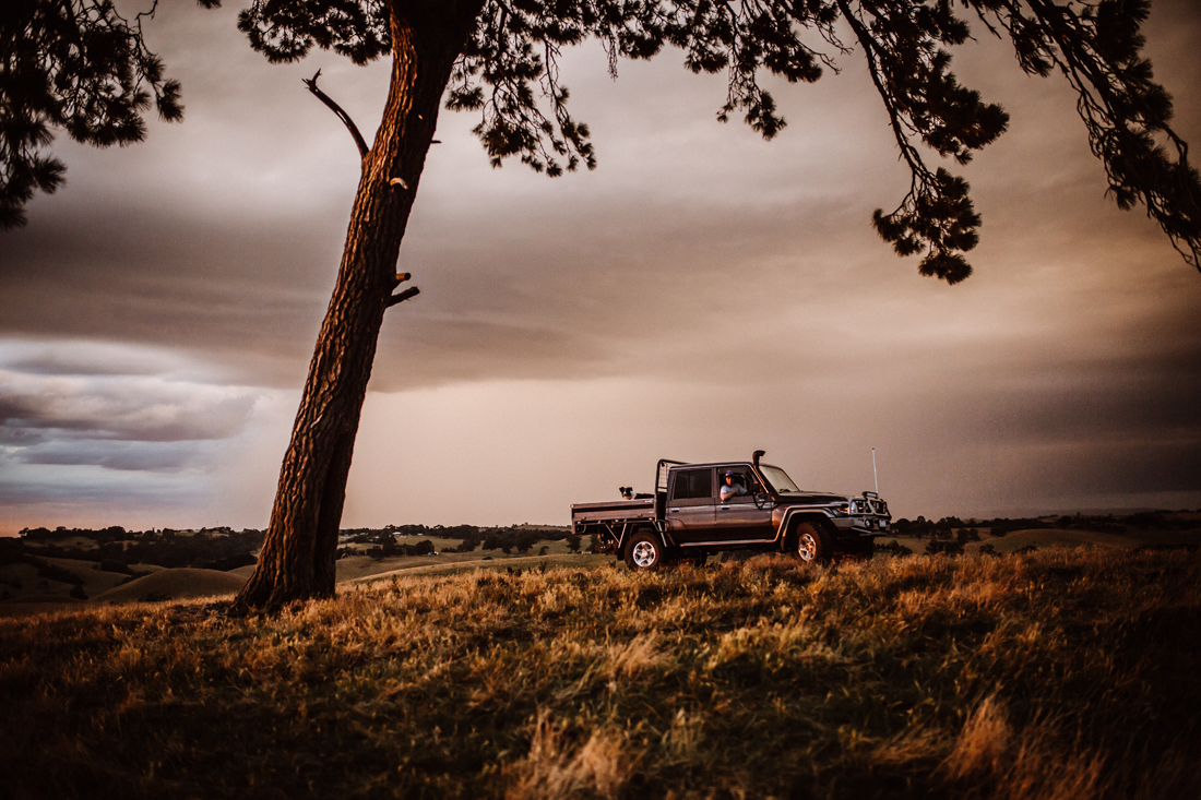 Ute - stormy sky - Golden hour - Country photoshoot