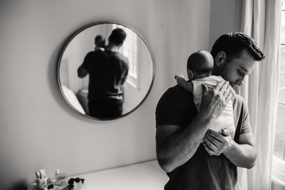 father and son - Melbourne - in home newborn session - black and white - West Melbourne