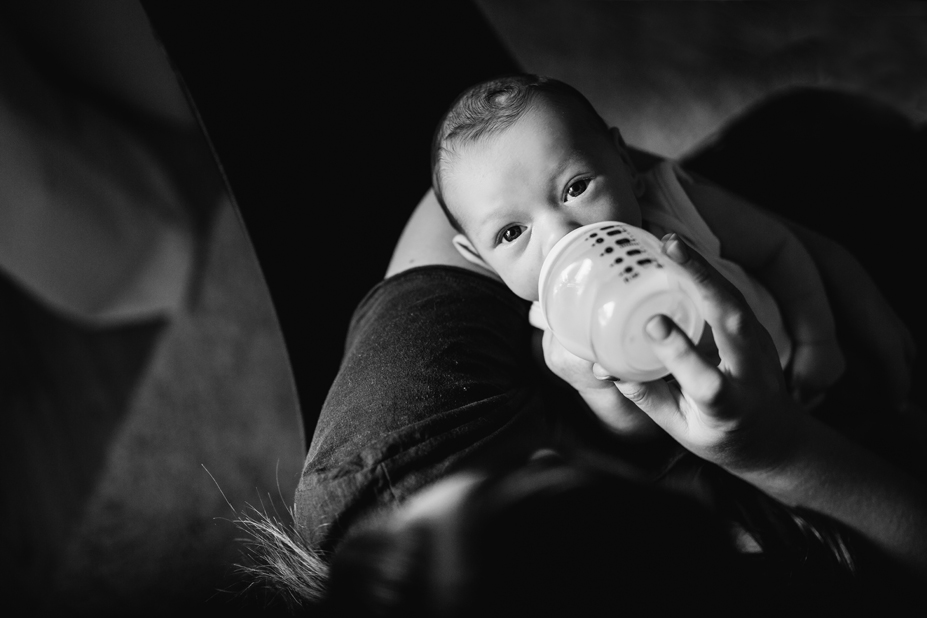 Newborn in home session - Melbourne newborn photography - west Melbourne - eye contact