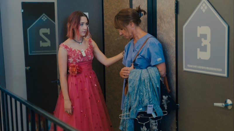Saoirse Ronan and Laurie Metcalf share a repressed moment.