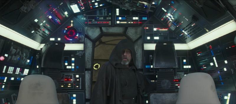 Feels like home: Luke Skywalker re-enters the Millennium Falcon.