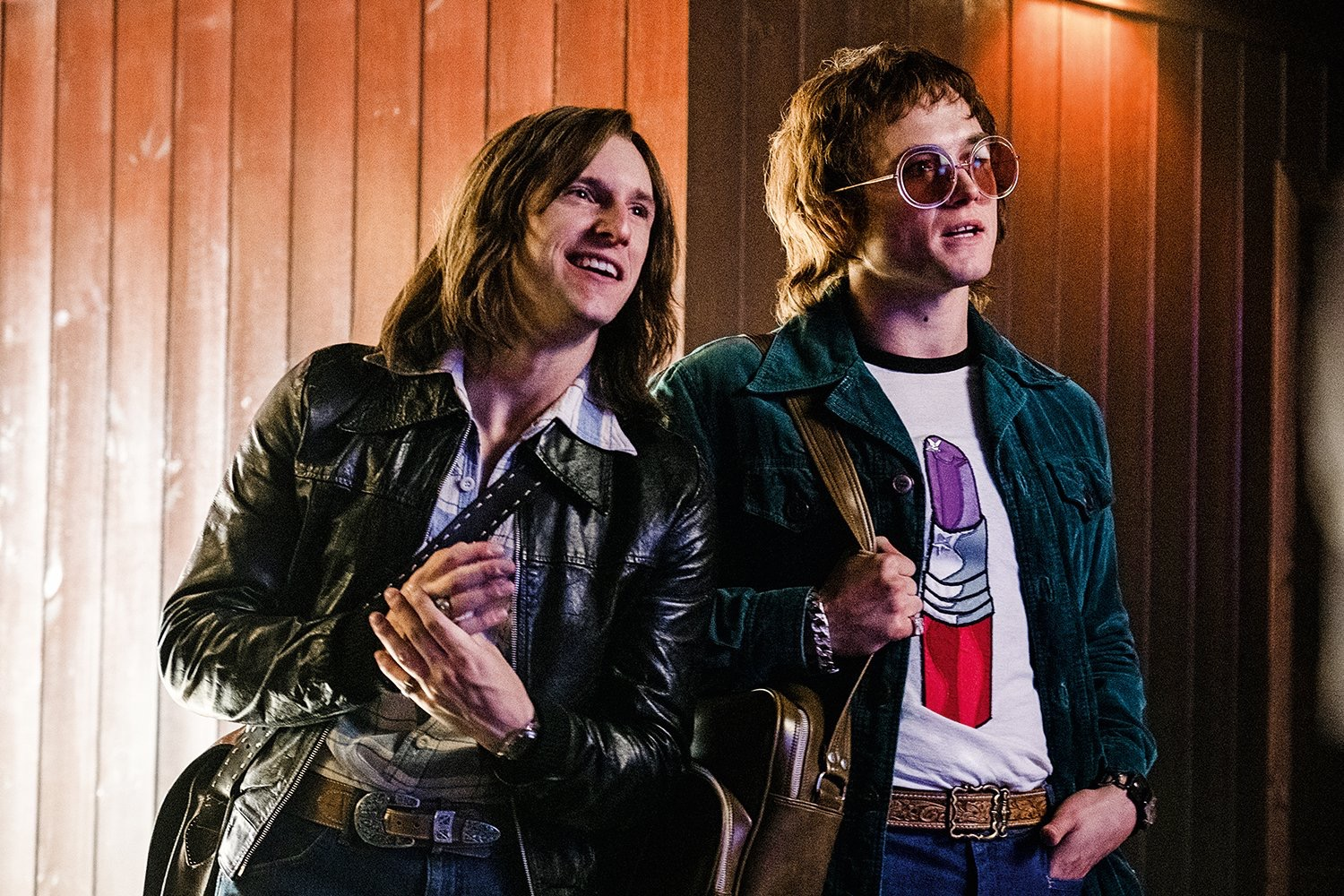 Partners in rhyme, Jamie Bell and Taron Egerton as Bernie Taupin and Elton John.