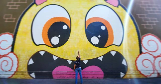 I see you looking at me!!! #cute #art #happy #streetart #wallart #trustmeimtheninja
