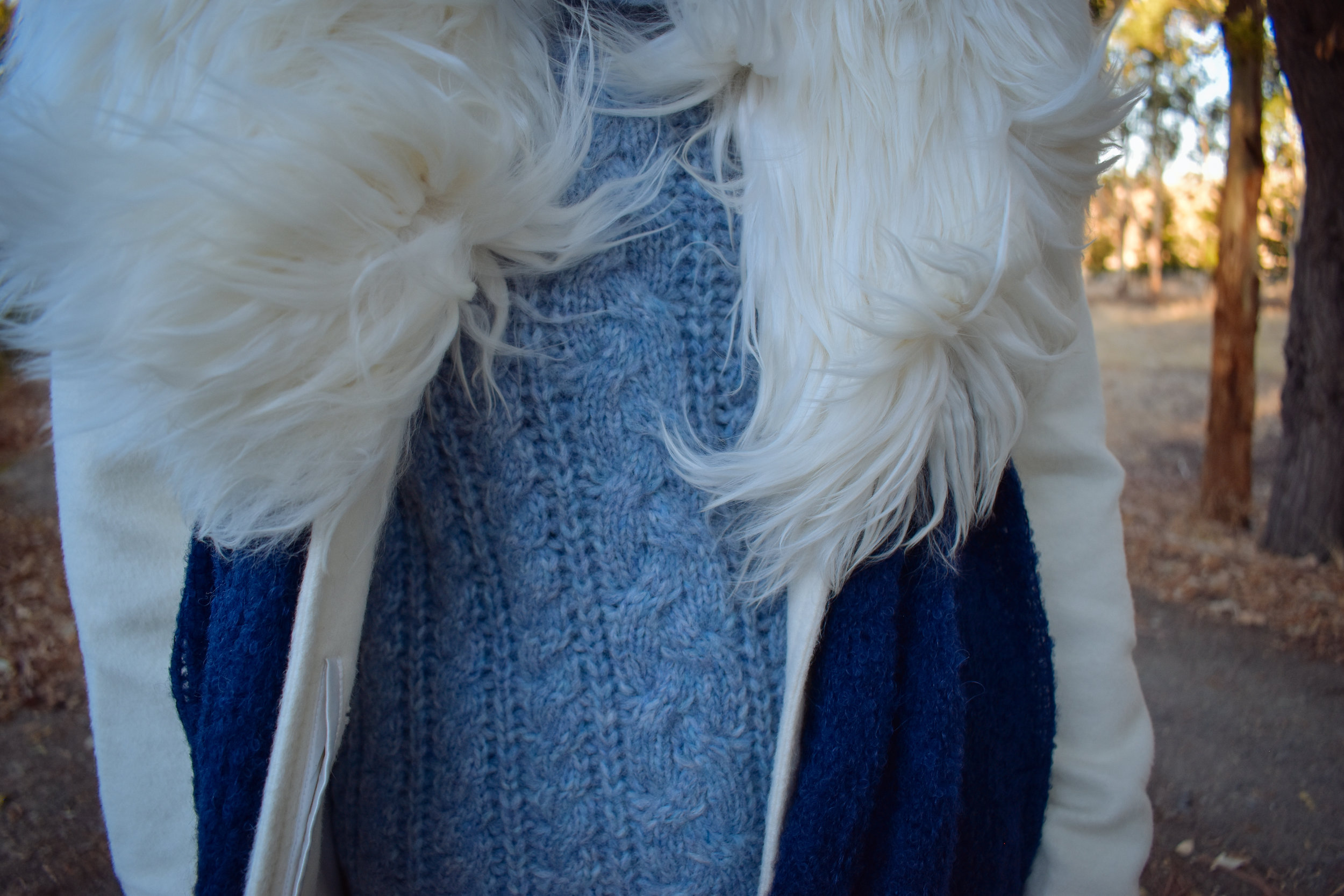 Fur Collar Coat / Roll Neck Cable Knit / Fine Boucle Shawl