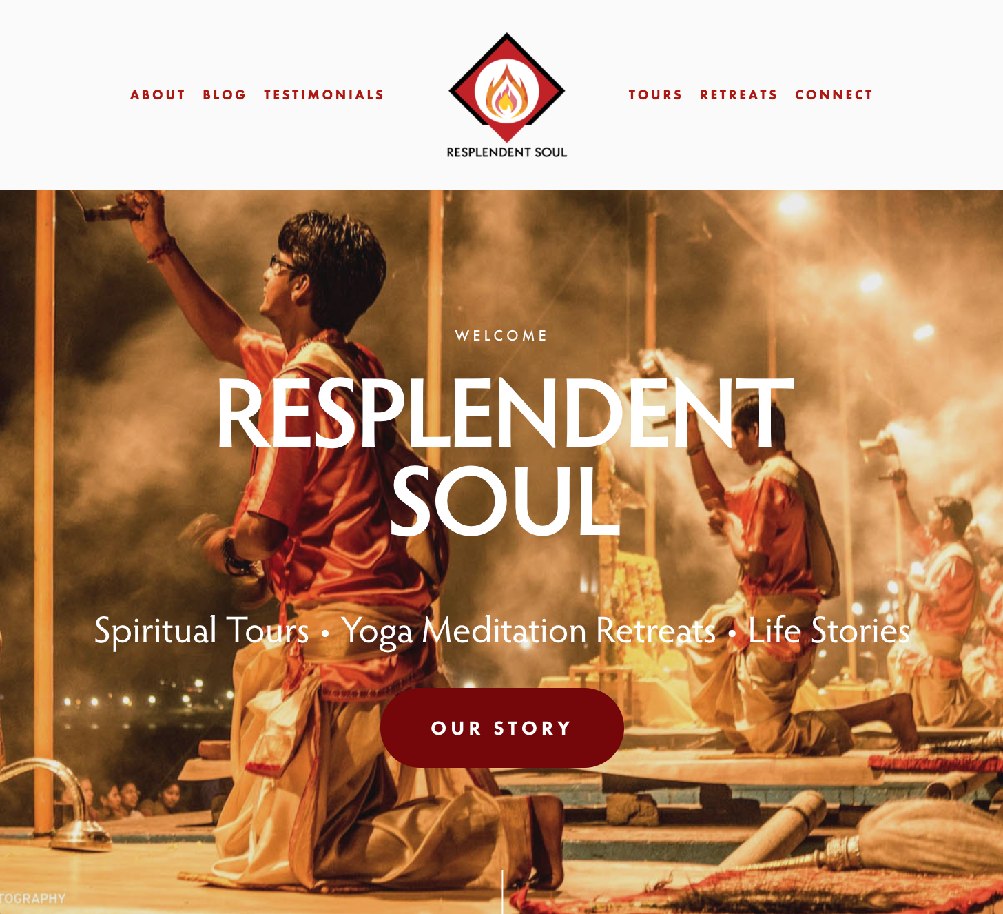 Website home page, check out  resplendentsoul.com  to see the full design.