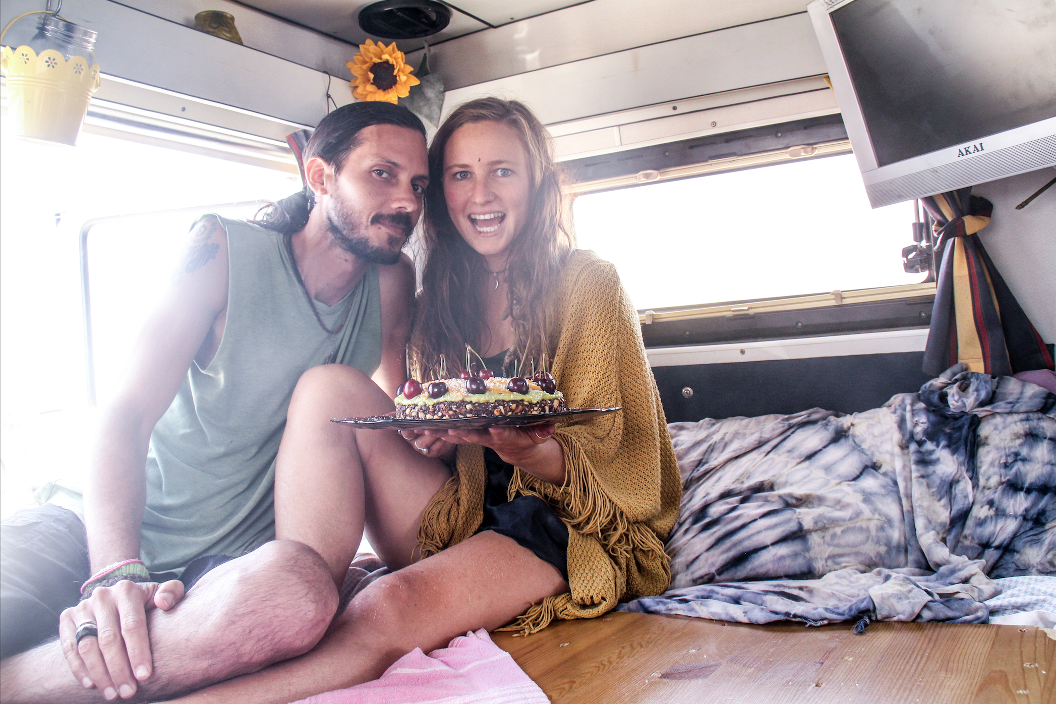 Alejandro and I with a vegan raw cake we made in the van, sugar free, gluten free, and full of love. We shared this at the beach were we were staying with the van, tring to promote a positive vegan message. Contact us for recipe of cake or ideas on how to share the vegan message XX