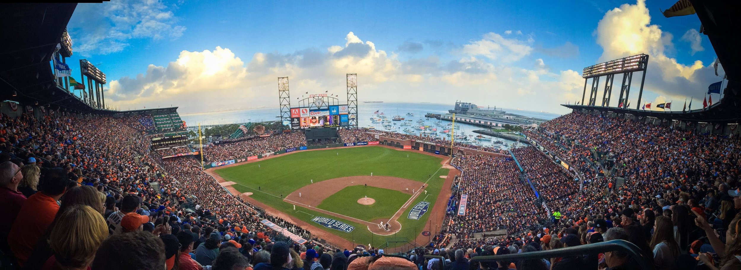 AT&T Park   Unfortunately, the Giants are out of town the weekend of our wedding (however, if you're here on Monday-Wednesday, you can catch a game). But you can still walk by and enjoy the waterfront at AT&T Park, home of the 2010, 2012, and 2014 World Series champion San Francisco Giants!   More Info on AT&T Park Here