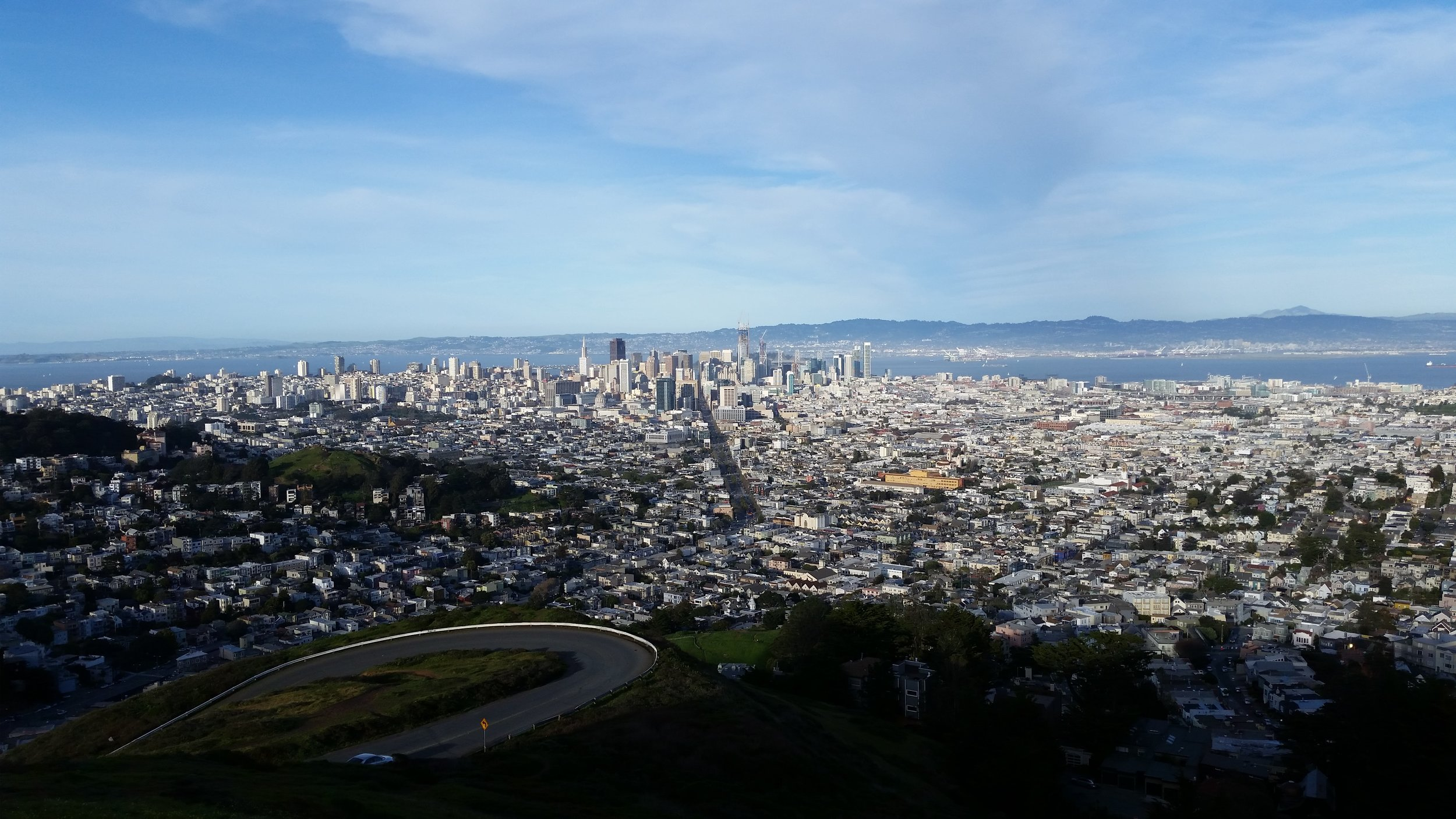 Twin Peaks   Come see the best views of the city from the highest point in San Francisco. From here, you'll be able to see far across the Bay, from the Golden Gate Bridge to Oakland.   More Info On Twin Peaks Here