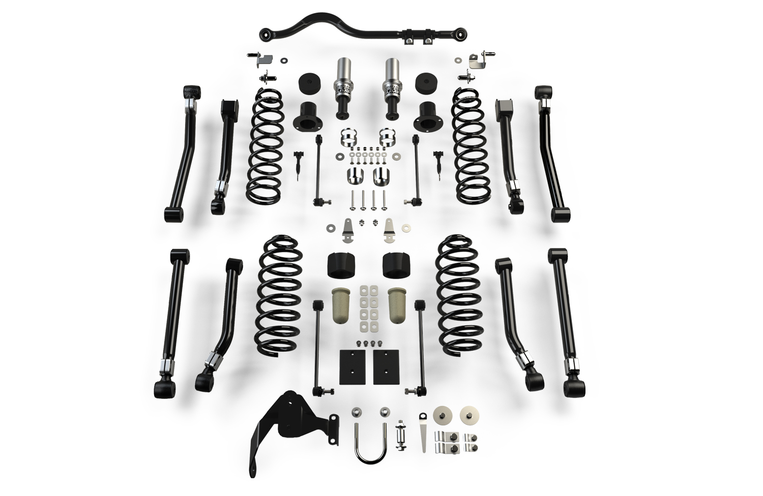 "Outback suspension comprises of: - The TeraFlex JK/JKU 8-Arm Adjustable Alpine Flexarm Kit (2-4"" Lift)3"" OutBack lift load-enhanced heavy-duty rate coil springsHD forged adjustable front track barSpeed Bump bump stopsFront brake line anchor kitFront sway bar disconnectsRear track bar bracketRear sway bar linksHD limit strapsCoil spring retainersExhaust spacersAdditional gusseting & reinforced bracketryAll necessary hardwareAnd Stickers!!!"