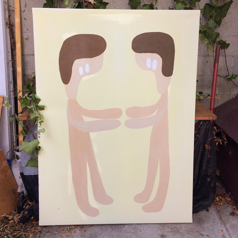 """Warm bodies"". Acrylic on canvas. 5.5'x3'. 2017."