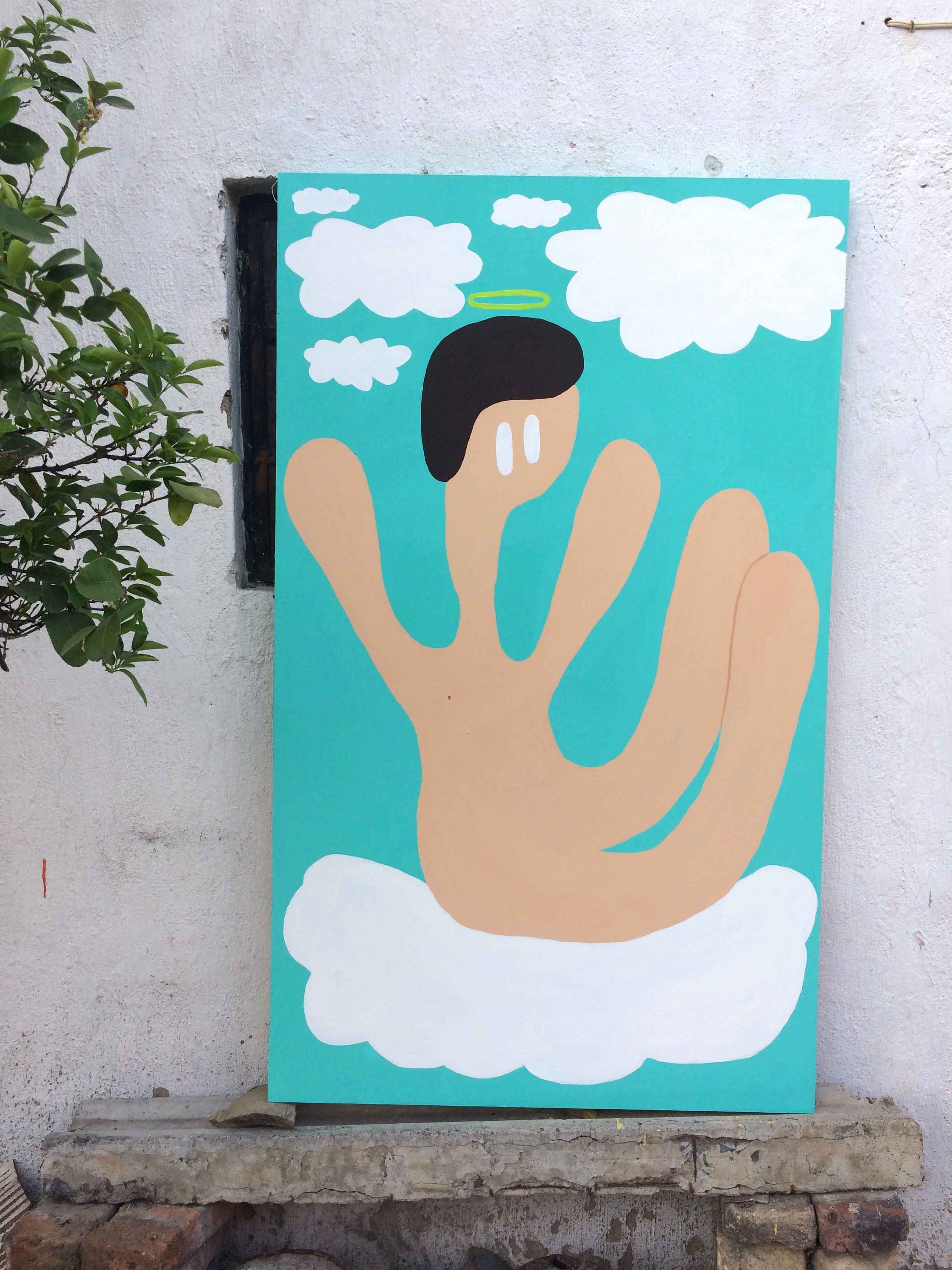 """Angelitx de mi guardia."" Acrylic on canvas. 4""x 3"". 2018."