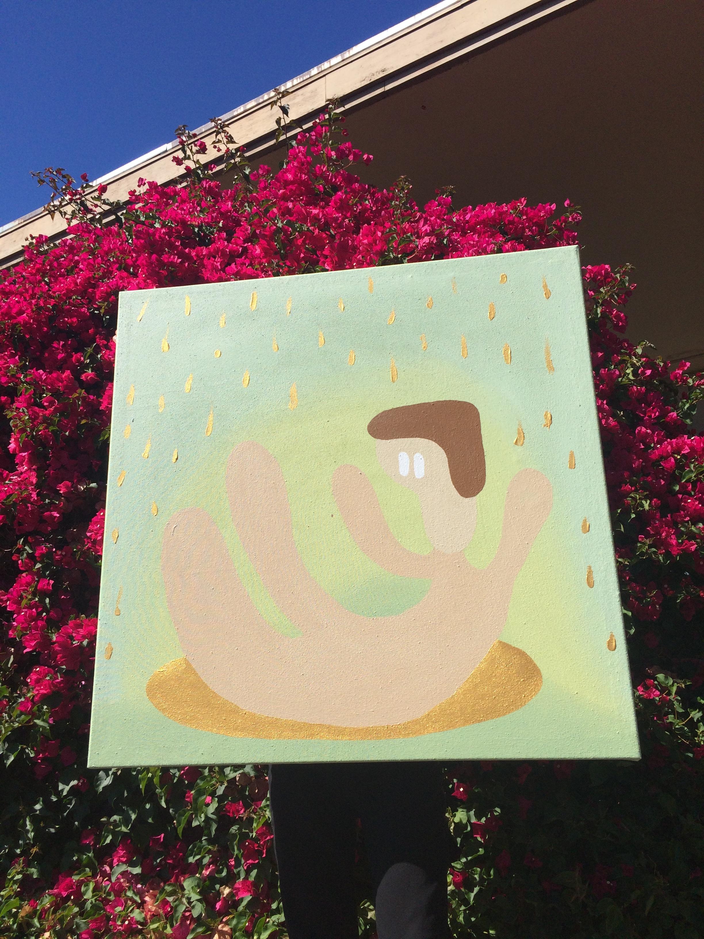 """Golden shower."" Acrylic on canvas. 2018. 3'x3'"