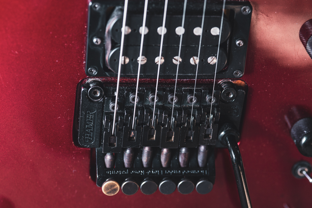 The common 1980s German-made Schaller Floyd is a great tremolo. Unlike early Floyds, this type uses the collared trem arm rather than a screw-in type. Otherwise, the hardware is the same.