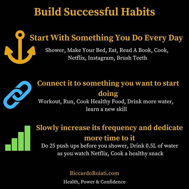 Why is it so hard to quit a destructive habit? Why is it so hard to insert a productive habit in our lives? 🤔 A productive habit is not built out of nowhere, but it must have an anchor habit, which is a habit deeply rooted in our lives that we just do in auto pilot. An anchor habit could be taking a shower, making your bed, eating, going on Instagram or even brushing your teeth.  Once you have identified an anchor habit the next step is to connect it to something you want to start doing. This anchor habit will create a trigger for the brain so that every time you perform the anchor habit, your brain will tell you that you need to complete the new habit you want to include in your daily routine. You have to carefully choose a good anchor habit which goes together with your new habit. For example, you shouldn't link doing 25 push ups right after you eat. Instead you should link the new habit to a more dynamic anchor habit. For example, go for a run right after you brush your teeth or exercise after you make your bed. Another way to choose an anchor habit is to use it as a reward for doing the new habit. For example, you would cook a healthy snack while you watch Netflix, or you would go on Instagram while you drink your water or healthy shake.  This is just the starting point. Of course, you won't get your dream physique by doing 25 pushups before you shower. Therefore, the last step is to increase the frequency and make the habit more demanding/harder. For example, before you shower you would do multiple sets of pushups and you would start doing planks and crunches. This might seem a very small thing, but as you keep growing the habit of exercising and seeing the results, you will end up wanting more progress, and you'll probably start going to the gym.  The goal here is to make the habit small and to link it to something you already easily do and in no time you will see big improvements in your life!🙌🏻🔥
