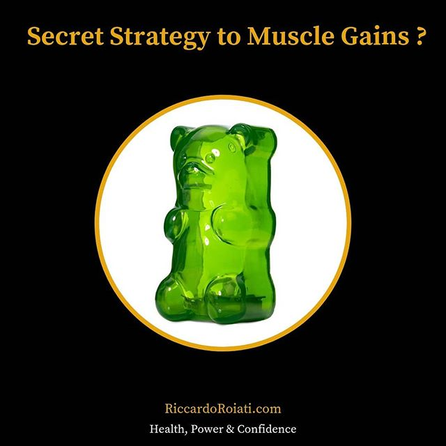 What if I told you to eat gummy bears after your workout to maximize your muscle gains? 😏💪🏻 If you are into fitness you probably know to stay away from high glycemic carbs like candy and white bread. But if consumed at the right times, fast digesting carbs will aid in your muscle gains. Here is why.  When you workout, your fuel is muscle glycogen, which is the storage form of glucose. After your workout your muscle glycogen levels are depleted and it's very important to refill them. The best way to do so is by eating pure glucose, or dextrose, after a workout. This is where gummy bears come into play. They are mainly dextrose. When you eat gummy bears after your workout, the dextrose is absorbed in the bloodstream right away and will restock your muscle glycogen levels. This will also cause an insulin spike. Insulin attaches to specific receptors on muscle cells which act as bridges for glucose, creatine and amino acids to be absorbed by the muscle cells. Glycogen stored in your muscles also attracts and holds water in your muscles, which makes them look bigger. If you combine the muscle pump you get during your workout (which also pulls water in the muscle) to the post workout glucose benefits, your muscle cells will be holding more water for a longer period of time. Research suggests that a greater muscle cell volume leads to muscle growth over time. I suggest you take 20/40 grams of carbs from gummy bears with a protein shake after your workout and start making gains! This is a great strategy if you are trying to bulk up. Be careful if you are trying to cut down and limit your carbs intake, but still post workout carbs are crucial for muscle gains, so you wouldn't want to miss out on their benefits.