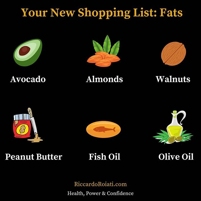 Do you have these foods in your shopping list? 👀  First of all, not all fats are bad for you, but you have to be able to make an educated choice on the kind of fat you can eat and too many people today don't know the difference between good and bad fats. When you eat good fats in the right amounts, you will lose weight and build muscle, not to mention you'll be able to manage your mood, fight fatigue and achieve top brain function. In fact, your brain is nearly 60% fat! 🧠 👀  Monounsaturated and polyunsaturated fats are considered the good fats. ✅  Saturated fats are found in red meat and dairy. While I personally keep dairy out of my diet, I recommend you eat lean grass-fed beef in small portions to get the benefits of CLA and omega-3 fatty acids. In addition, saturated fat helps the body make testosterone. 💪  To get monounsaturated fats in your diet, I recommend including avocados, almonds and extra virgin olive oil. 🥑🥑 For polyunsaturated fats the best choices are walnuts, salmon, anchovies, herring, raw seeds and fish oil. 🦈  Fat in peanut butter is about half monounsaturated and half polyunsaturated. I suggest you include it in your diet, especially when bulking, but only eat organic and natural peanut butter. ❌You definitely want to stay away from trans fats. The simple rule is to stay away from highly processed foods, such as pre-packaged foods (candy, chips), microwavable foods, commercially baked foods (cakes, cookies) and anything that's fast food❌  Start including good fats in your diet and you'll see a great improvement both physically and mentally 🔥🤙🏻