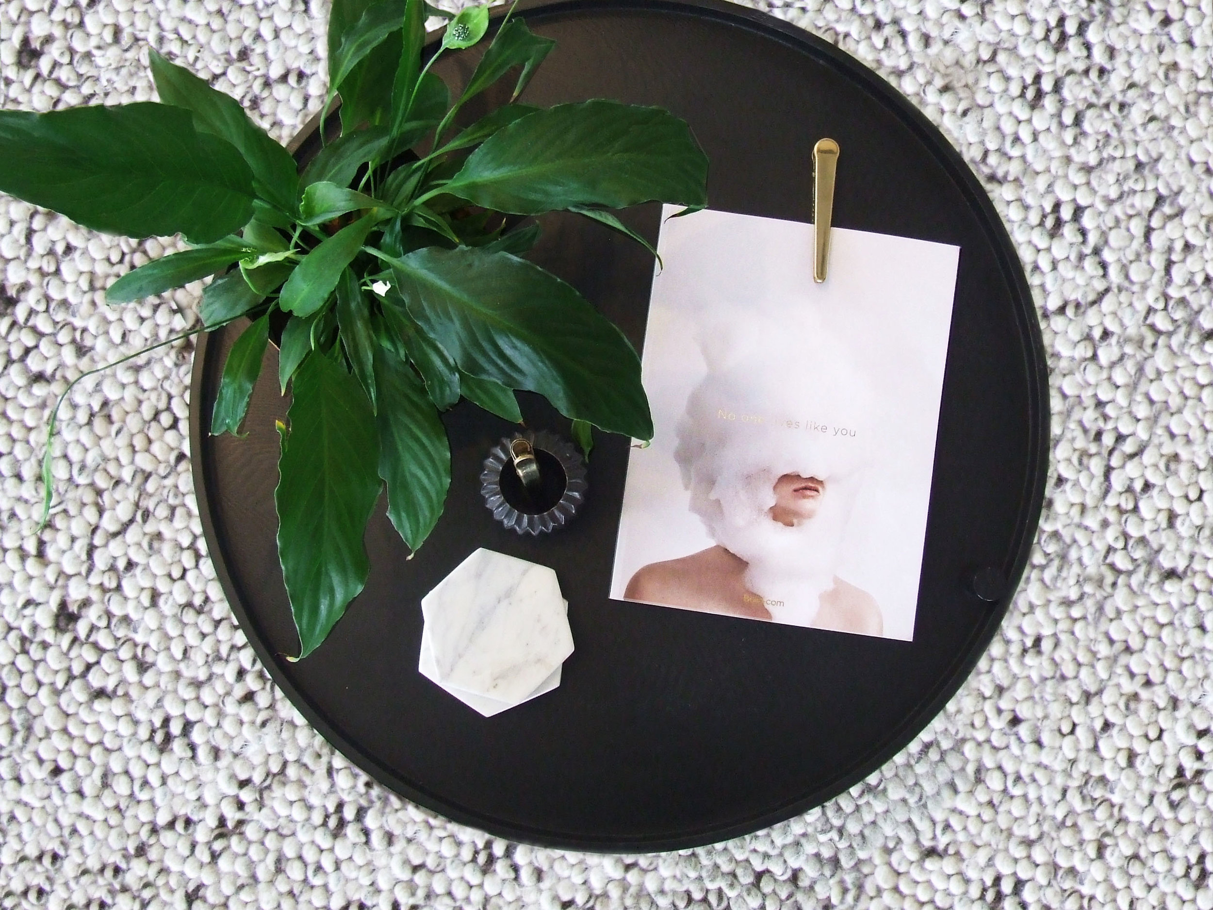 Menu Turning Table  //  HAY Clip Clip  //   Bloomingville Flute Votives  //  Marble Basics Hexagonal Coasters