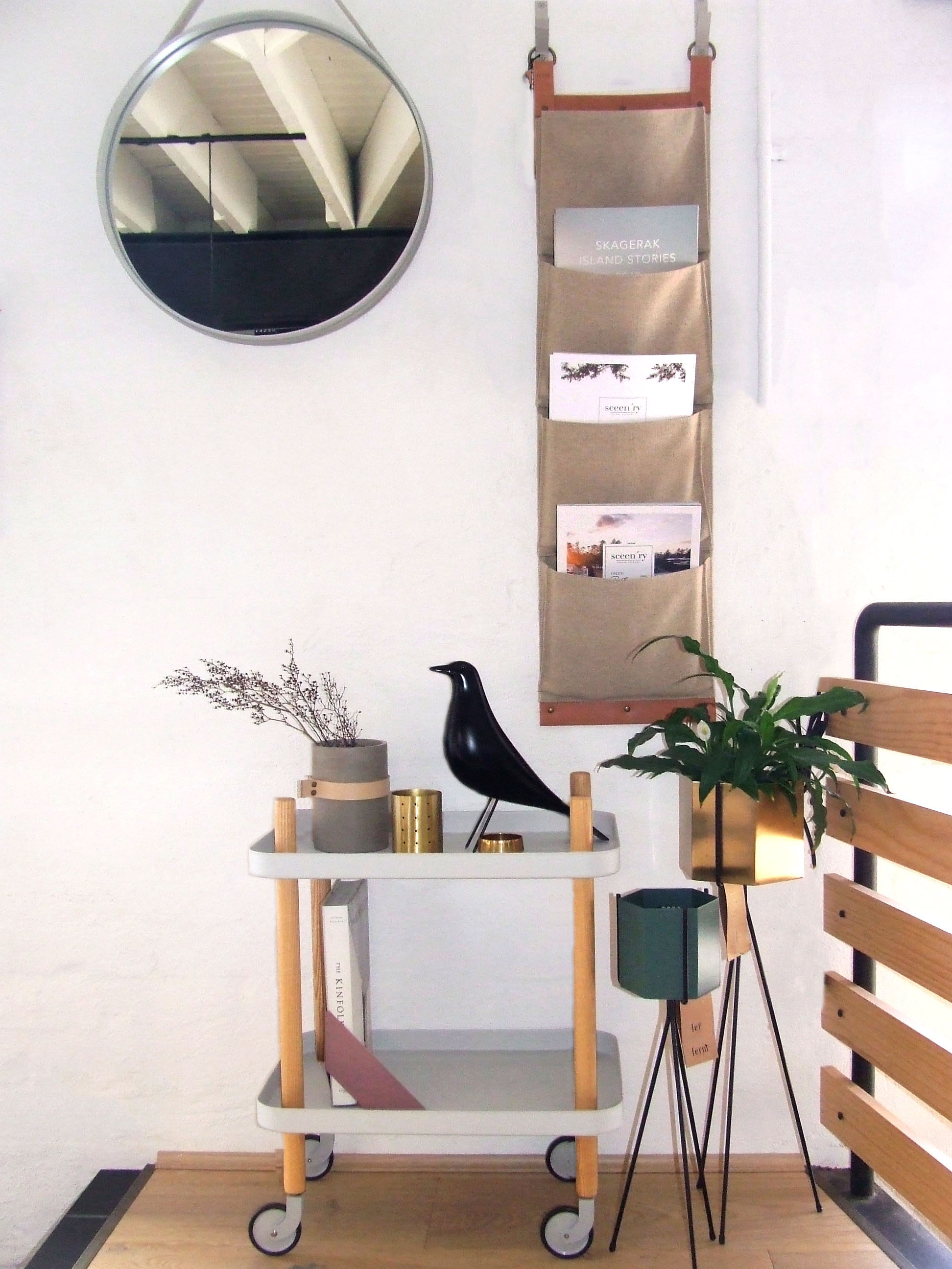 Norman Copenhangen Block Table  //  HAY Strap Mirror  //  Zakkia Holey Vessel     //  Vitra Eames House Bird  //