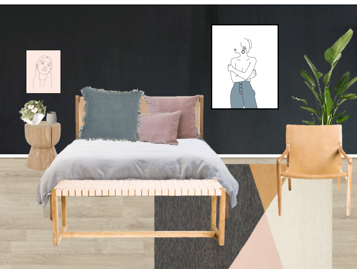 Product Links: Jardan Finley Bedhead / Fenton and Fenton Woodrow Hourglass Stump / Armadillo & co Tuck Rug / Barnaby Lane Smith Armchair Tan / Barnaby Lane Kent Bench Blush / Issey Cushion Blue Grey / Society of Wanderers Pillow Cases Wiggles / Lightly Bon Bon Vase / Raw Oversize Mug Grey / Artworks by Little Lungs