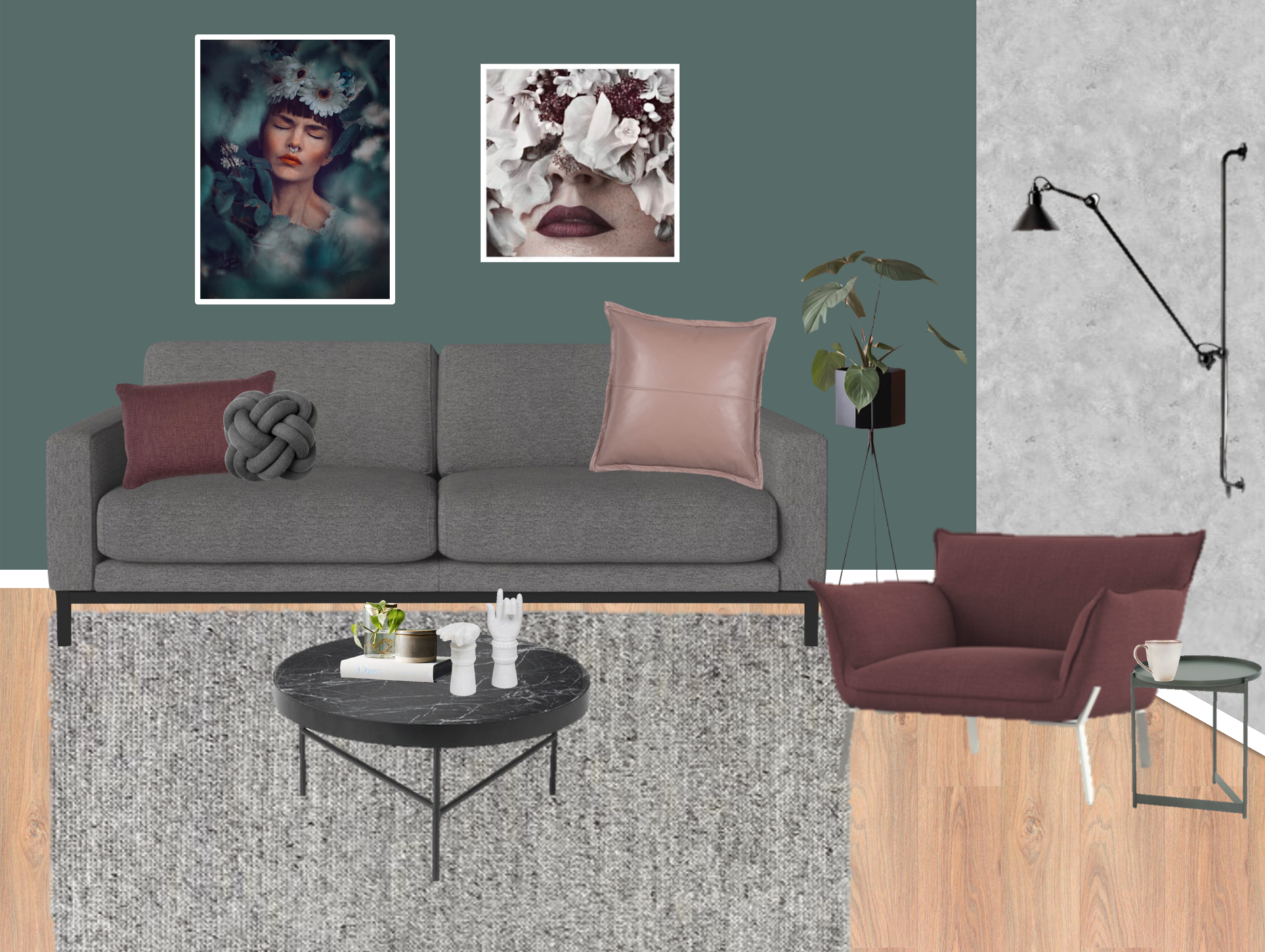 Product links: Bolia North Sofa /  Ferm Living Marble Coffee Table /  Jardan Lewis Armchair /  Jardan Phoenix Butler Side Table /  Lampe Gras No 214 /  Nathan + Jac Bardot Leather Cushion /  Nathan + Jac Clara Lumbar Cushion /  Design House Stockholm by UMEMI Not Knot Turk's Head Cushion /  Fenton & Fenton Marble Hands /  Nathan + Jac Casablanca Accessory Pack / Armadillo & Co Sherpa Weave Rug /  Ferm Living Plant Stand