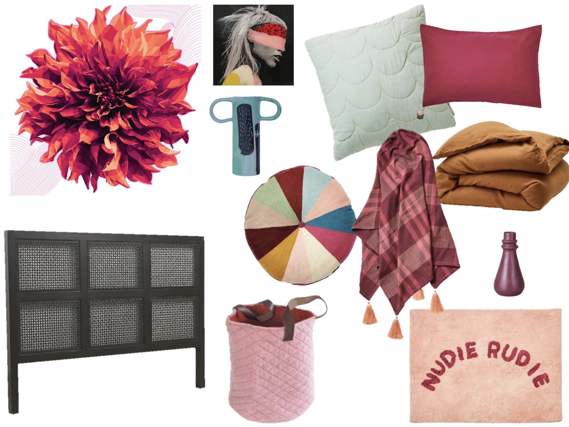 Brent Rosenberg print /  Georgie Wilson mini canvas / J ade cushion /  Magenta pillowcase /  Tobacco quilt cover /  Peony throw /  Round cushion /  Green painted vase /  Pomegranate vase /  Storage Basket  /  Bath Mat