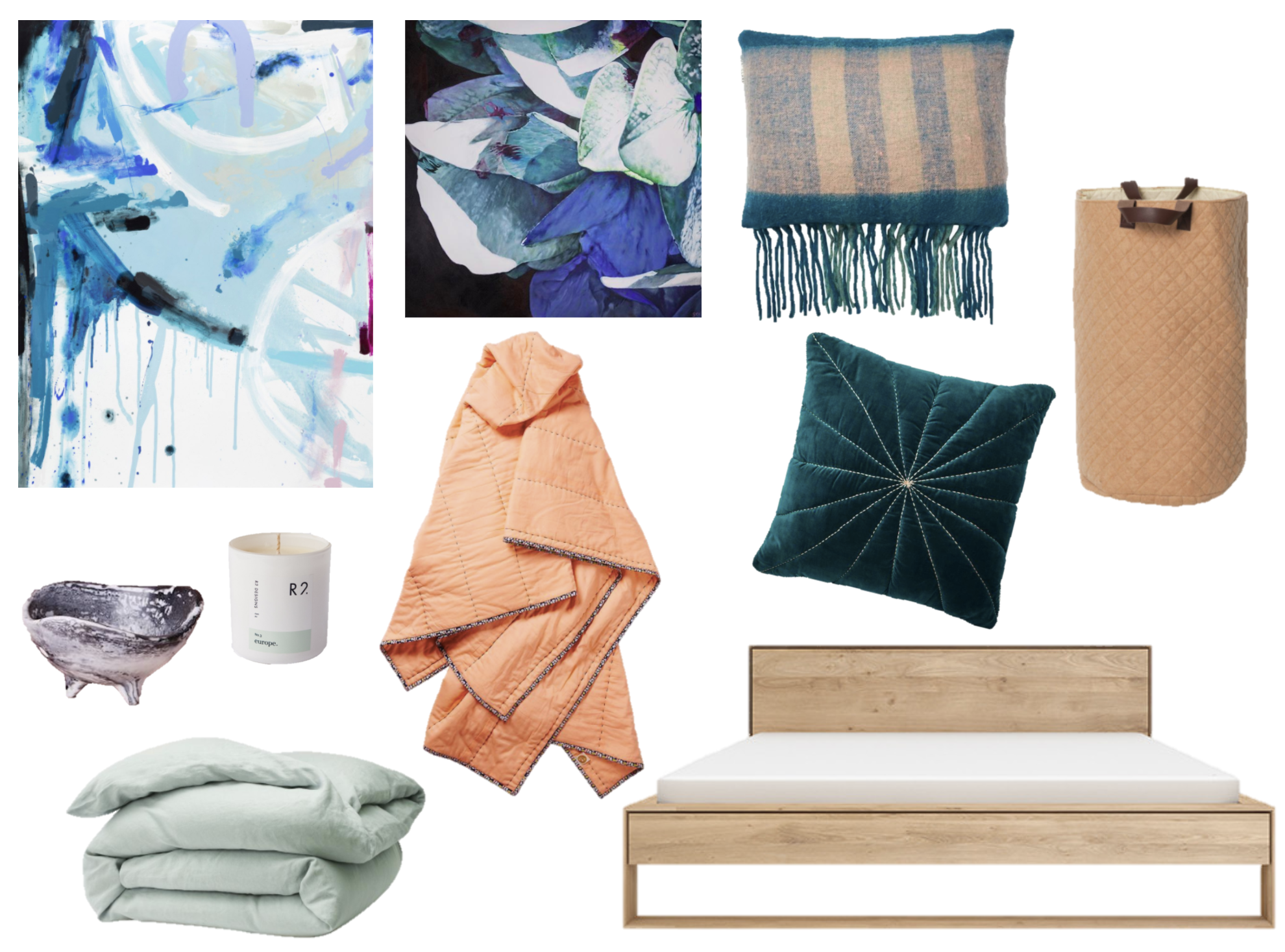 Prudence Caroline Captain of the Clouds /  Georgie Wilson Danger Hydrangea /  Turquoise Check cushion /  Turquoise Velvet cushion /  Moonlight quit cover /  Peach blanket /  Storage basket /  Ceramic dish /  Candle