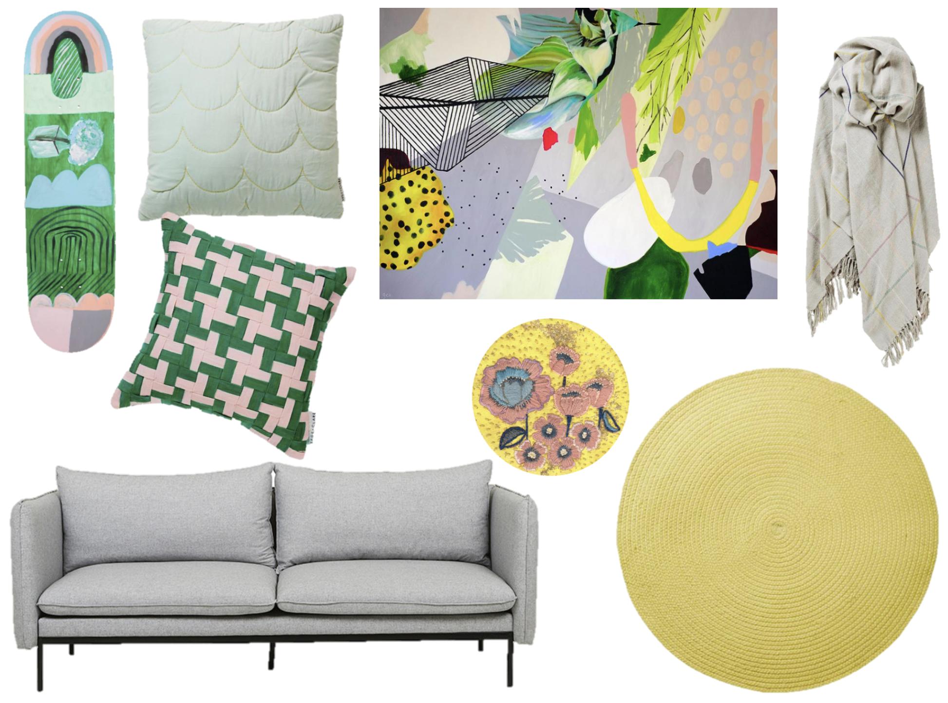 Georgie Wilson Tiger Style 3 /J ade cushion /  Houndstooth cushion /  Throw /  Dandelion Rug  /  Fleur Woods Golden Dawn /  Grass is Greener skateboard