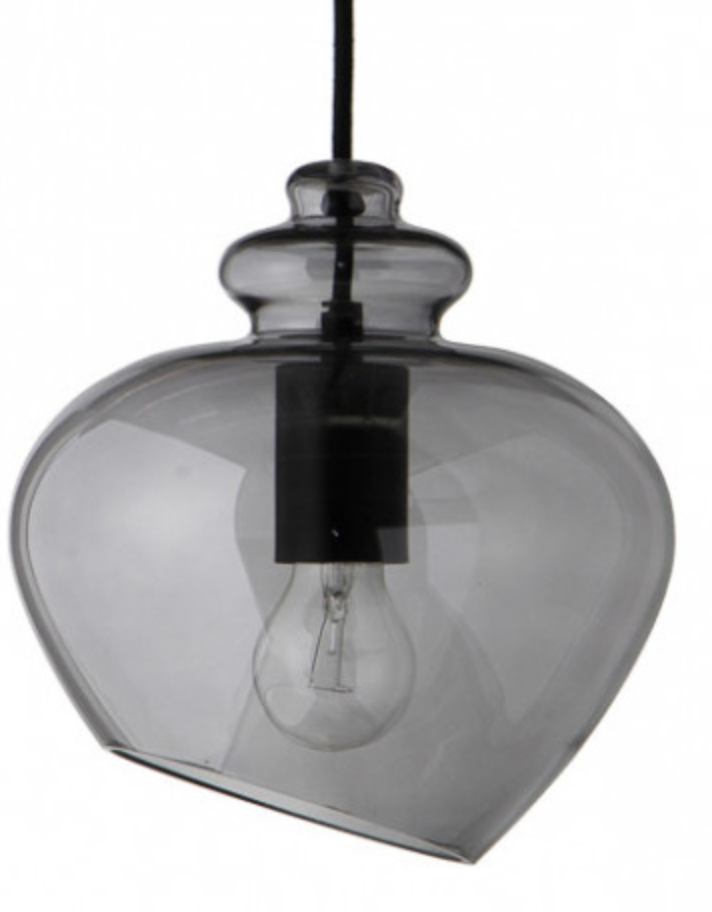 Designstuff - FRANDSEN Grace Smoke Glass with Black Socket Pendant