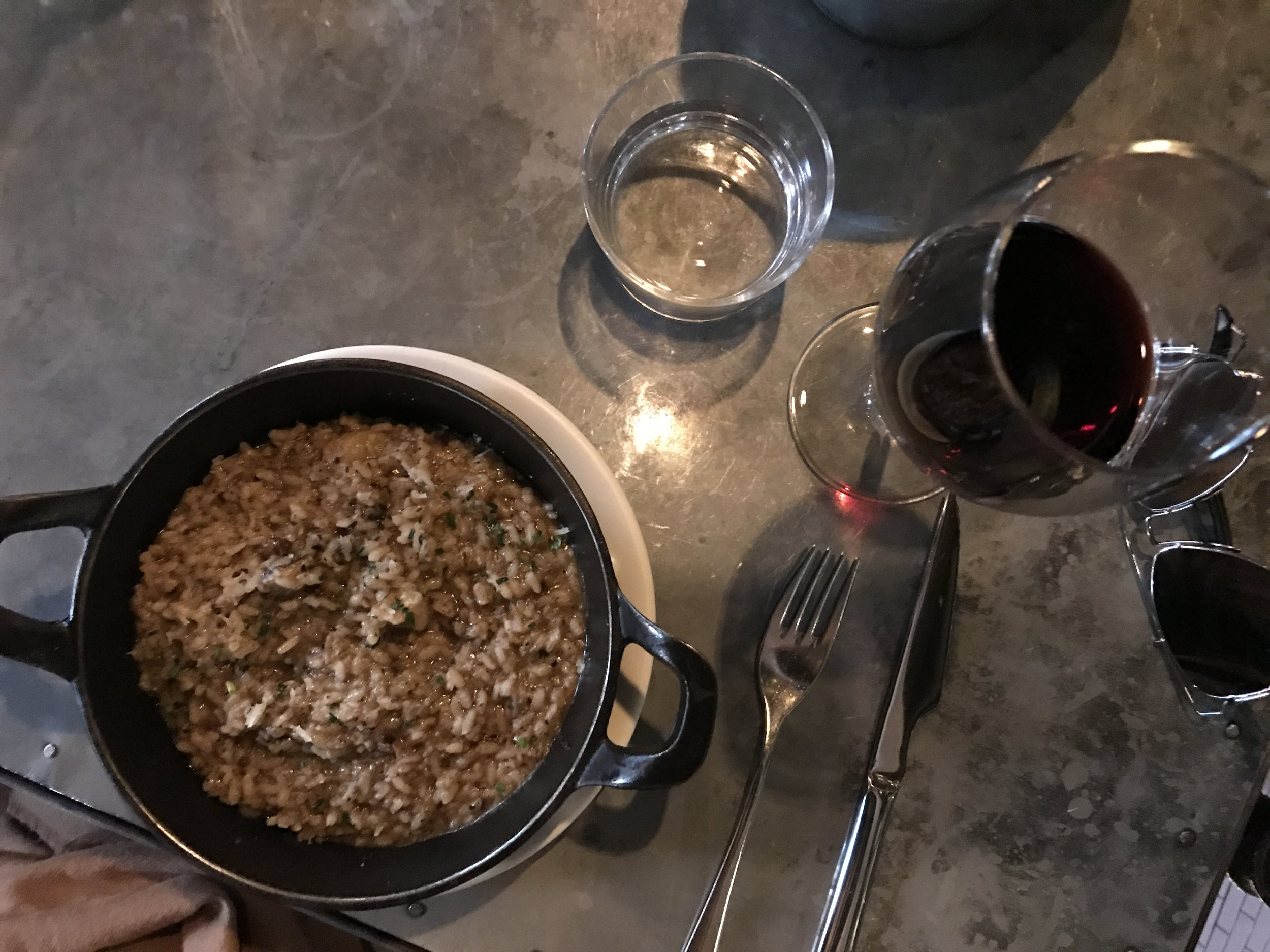 The oxtail risotto and (first) glass of Rioja